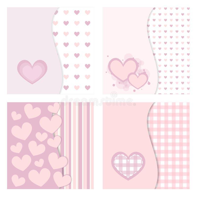 Leuke valentijnskaartkaarten vector illustratie