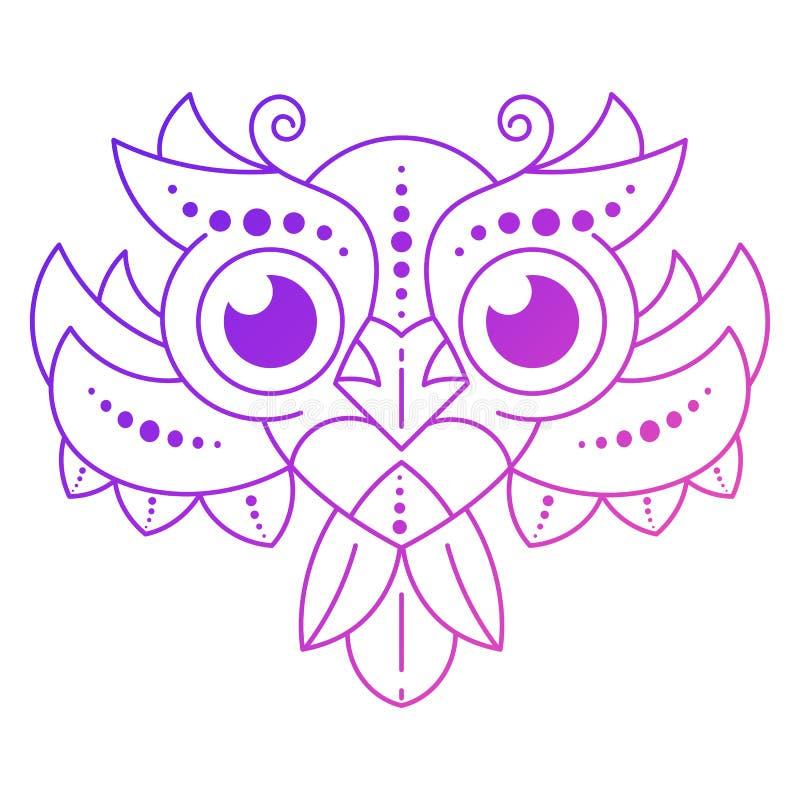 Leuke van Beeldverhaalowl with feathers on dark Vector Als achtergrond stock illustratie