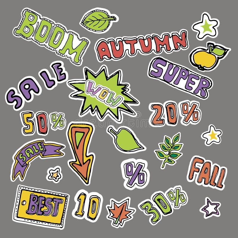 Leuke van borduurwerkflarden en stickers inzameling De herfstverkoop H royalty-vrije illustratie