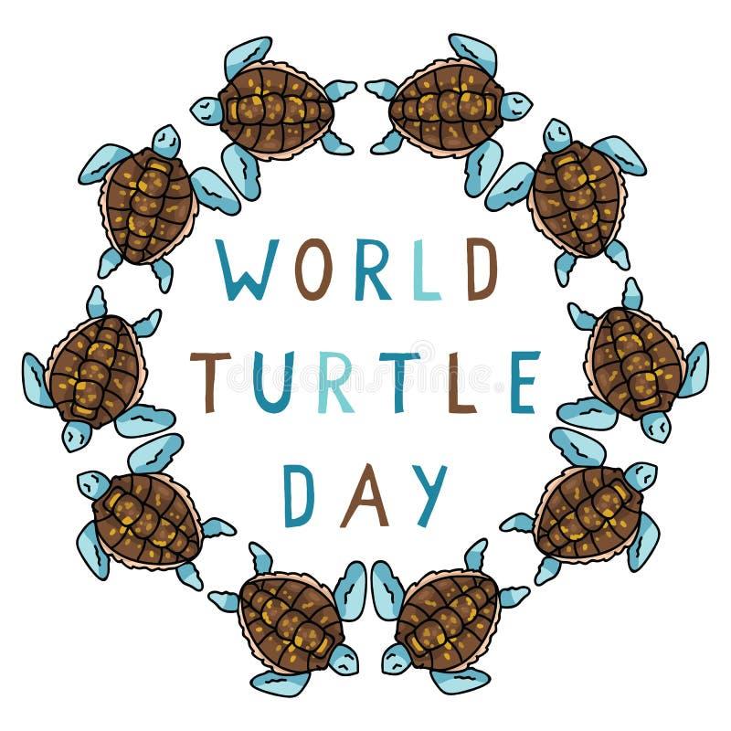 Leuke van de de dag blauwe cirkel van de wereldschildpad van de het beeldverhaal vectorillustratie het motiefreeks royalty-vrije illustratie
