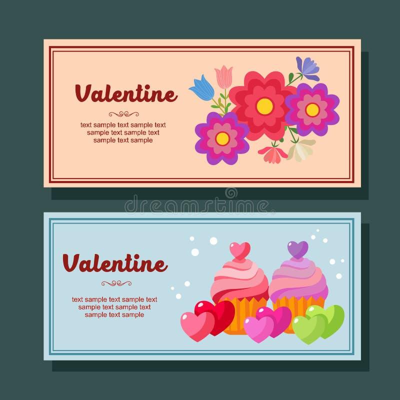 Leuke van de de decoratie horizontale banner van het valentijnskaartseizoen vlakke cupcakes vector illustratie