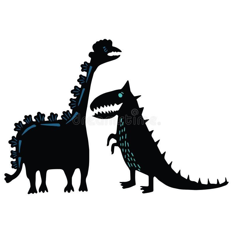 Leuke van de het beeldverhaal vectorillustratie van het dinosaurussilhouet het motiefreeks Hand getrokken gewaagde voorhistorisch royalty-vrije illustratie