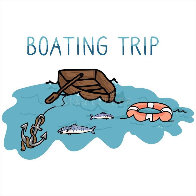 Leuke van de het beeldverhaal vectorillustratie van de roeienreis vastgestelde het motiefreeks Hand getrokken geïsoleerde vissen, stock illustratie