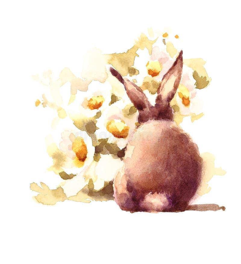 Leuke van de madeliefjesbloemen van het Babykonijntje ruikende van de Waterverfdieren Getrokken de Illustratiehand stock illustratie