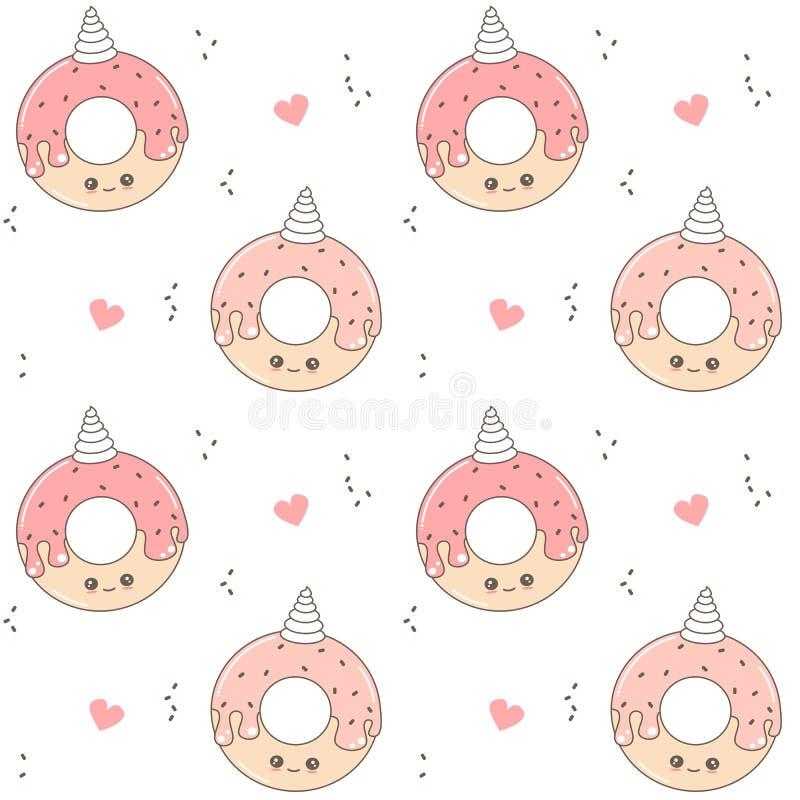 Leuke van het beeldverhaal naadloze vectorpatroon illustratie als achtergrond met doughnuteenhoorn stock illustratie