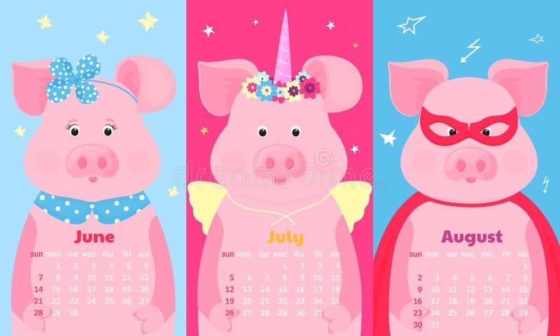 Leuke varkens fairytale eenhoorn met een hoorn en een bloemkroon en vleugels, superherokostuum in een masker en een regenjas grap royalty-vrije illustratie