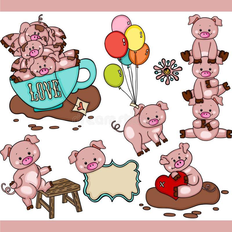 Leuke varkens vastgestelde digitale elementen vector illustratie