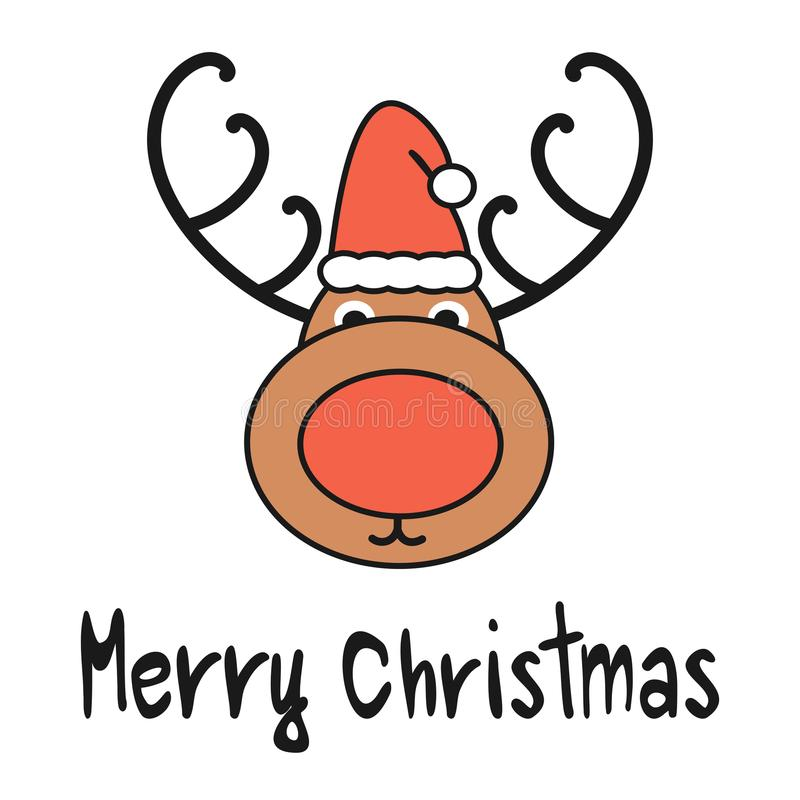 Leuke vector de groetkaart van beeldverhaalhand getrokken vrolijke Kerstmis met rendier met santa` s hoed vector illustratie
