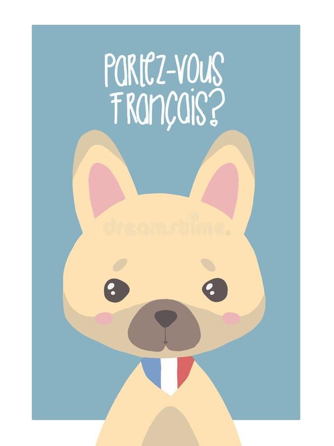Leuke vector de hondillustratie van de fawn Franse buldog voor kinderen stock illustratie