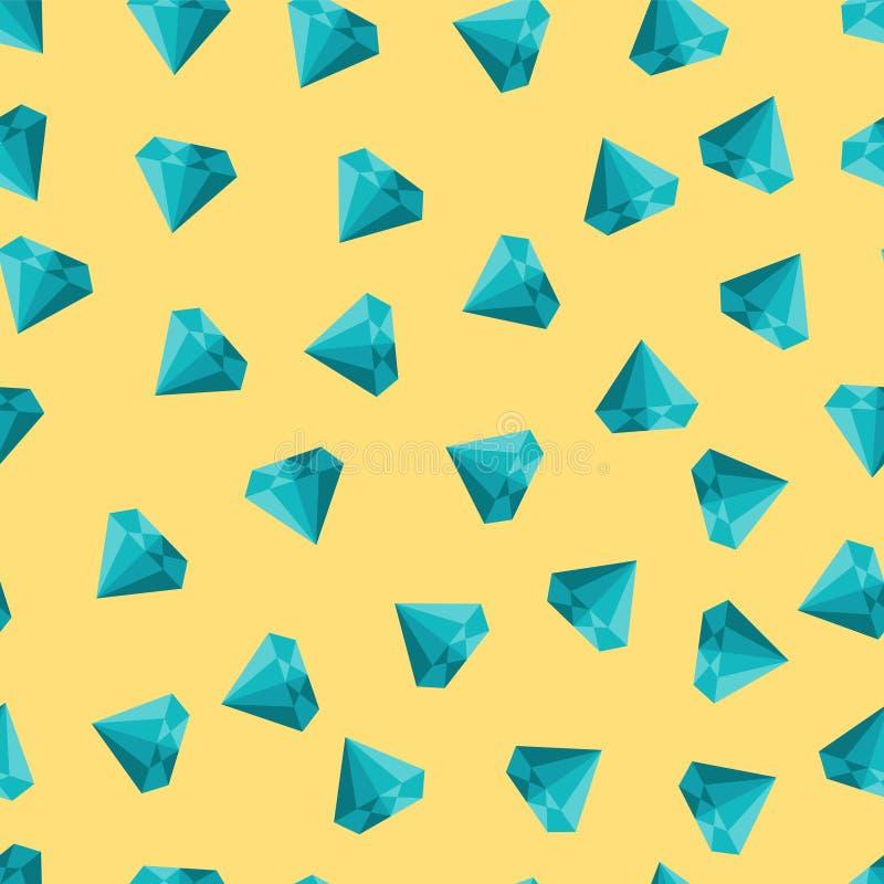 Leuke vector naadloze textuur met diamanten op gele achtergrond vector illustratie