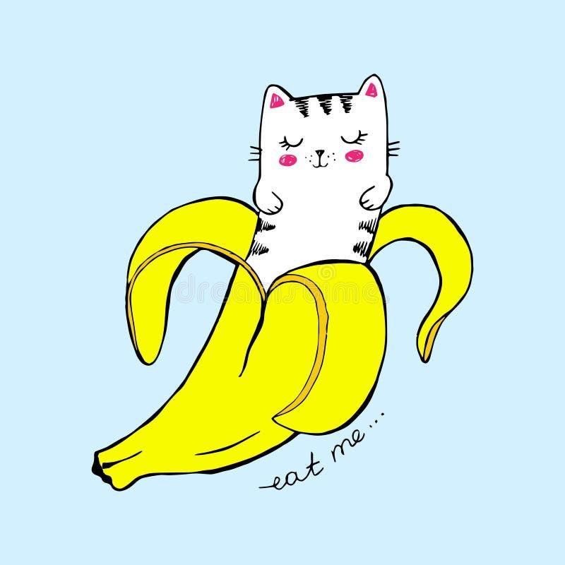 Leuke vectorillustratie De kat van de Kawaiibanaan op blauwe achtergrond Grappige kat, gele fruitsticker, op modieuze t-shirtdruk royalty-vrije illustratie