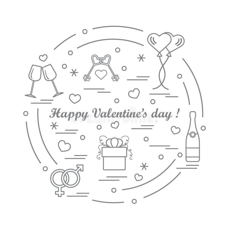 Leuke vectorillustratie: giften, ballons, stemware, sleutels, gende royalty-vrije illustratie