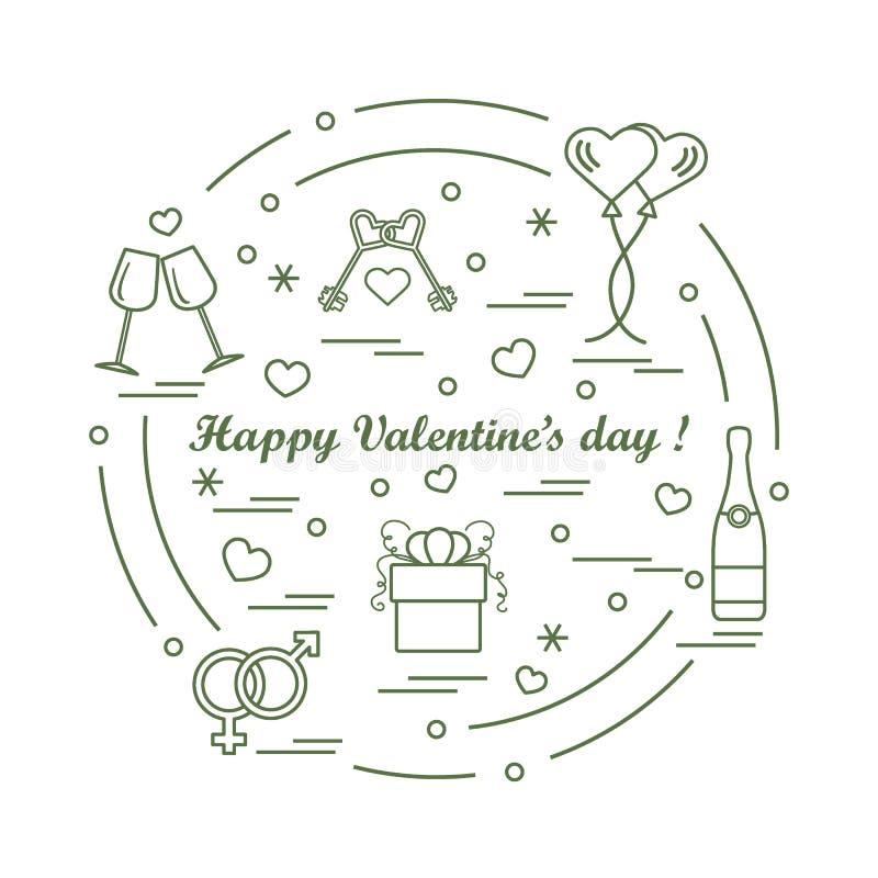 Leuke vectorillustratie: giften, ballons, stemware, sleutels, gende stock illustratie