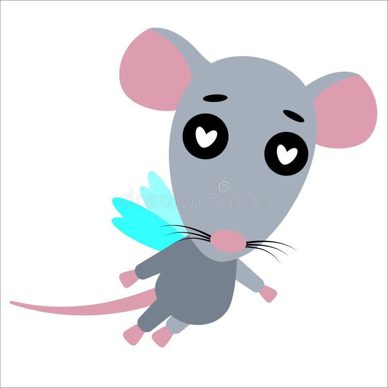 Leuke vectorrat Rat in liefde Witte achtergrond Vlak Ontwerp Vector stock illustratie