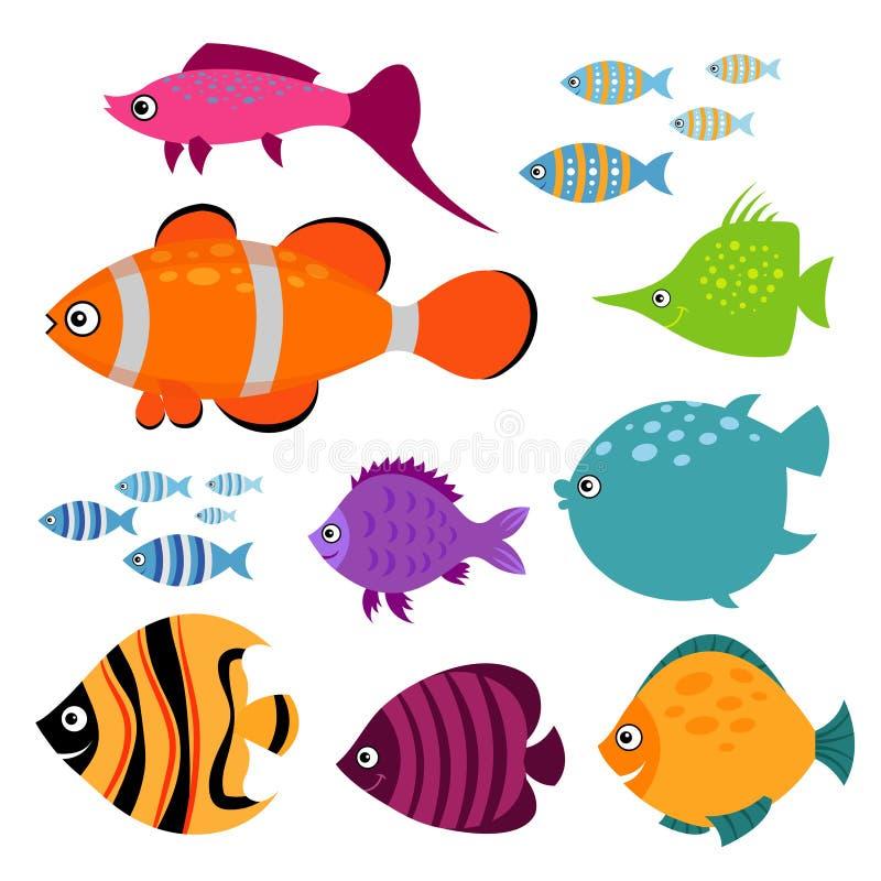 Leuke vectorvissenreeks Het glimlachen de zwemmende illustratie van aquariumvissen royalty-vrije illustratie