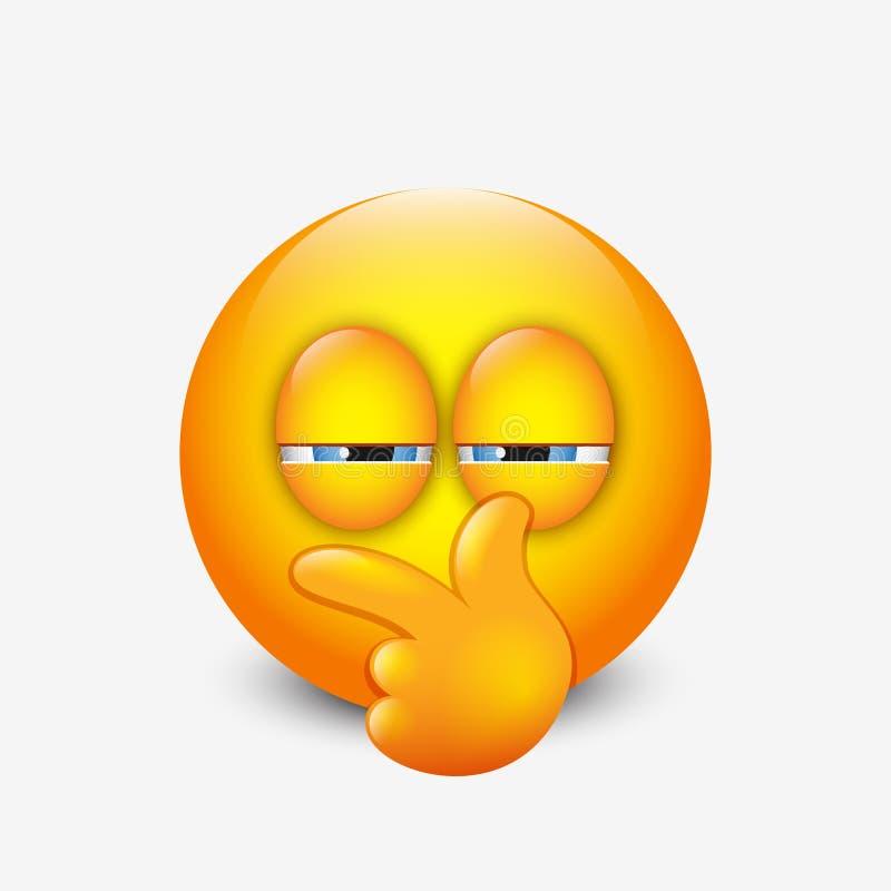 Leuke verdachte emoticon, emoji - vectorillustratie stock fotografie