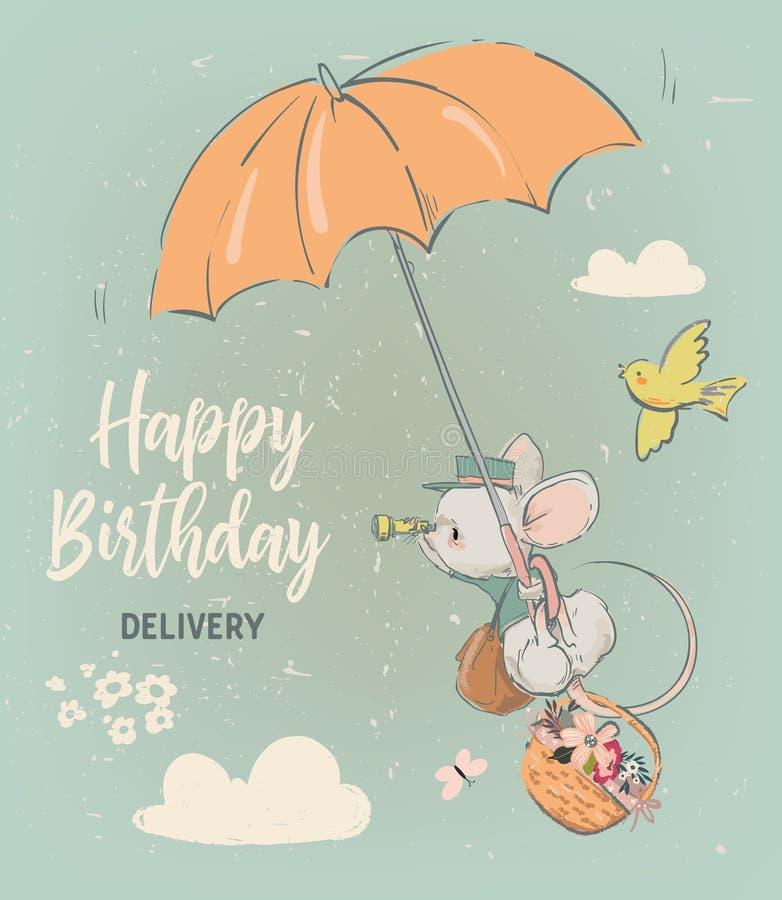 Leuke verjaardagsmuis met bloemen royalty-vrije illustratie