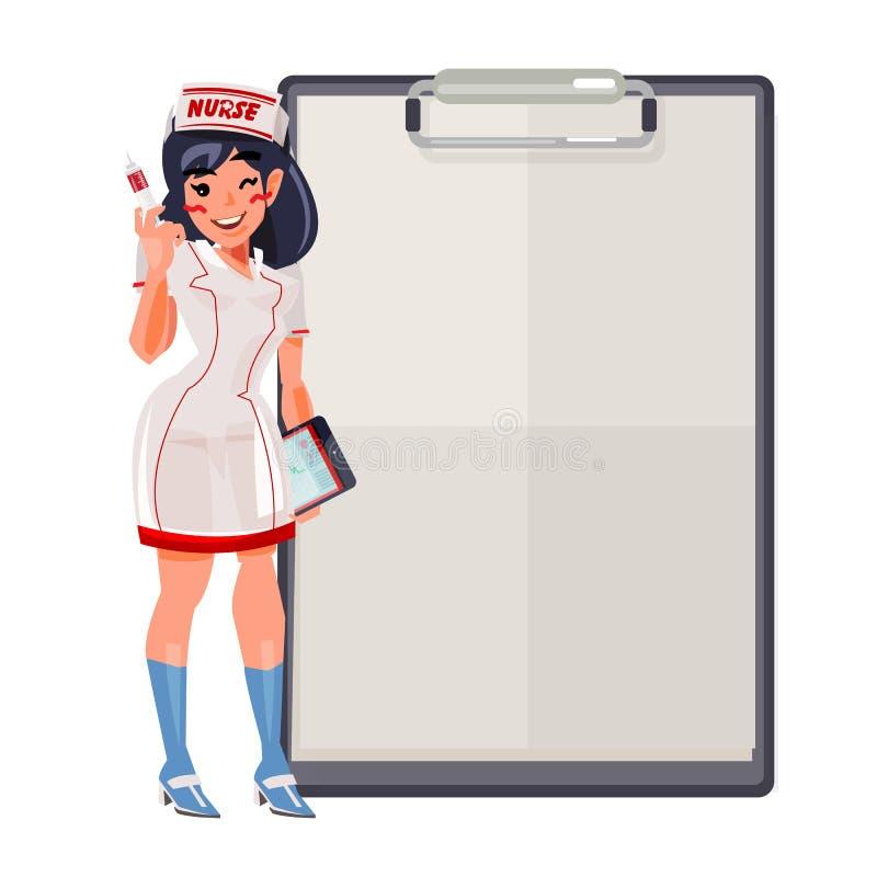 Leuke verpleegster met document klembord aan presentatie - vector illustratie
