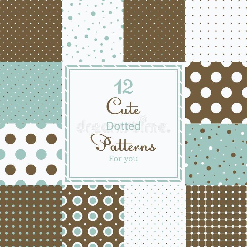 12 leuke verschillende gestippelde vector naadloze patronen (het betegelen). royalty-vrije illustratie