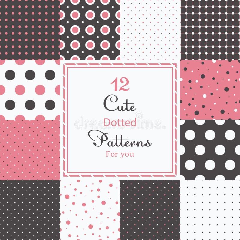 12 leuke verschillende gestippelde vector naadloze patronen (het betegelen). vector illustratie