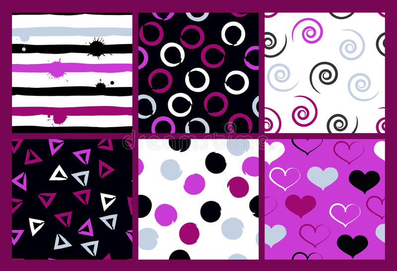 6 leuke verschillende vector naadloze patronen Golvende lijnen, werveling, cirkels, borstelslagen, harten Stippen en strepen vector illustratie