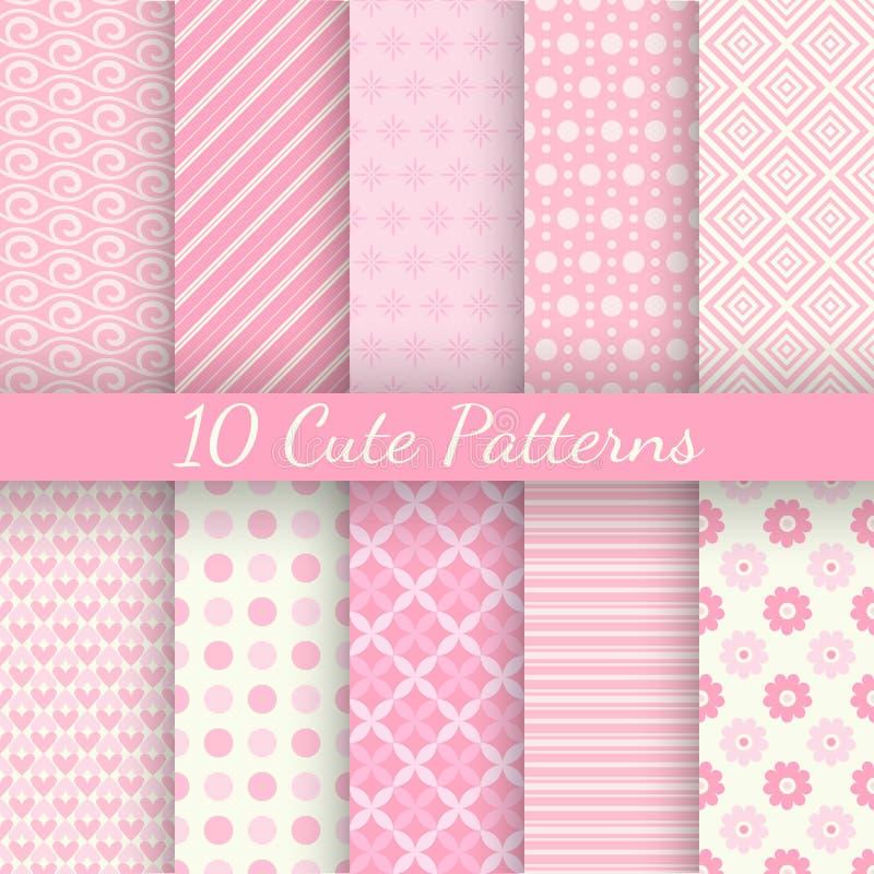 10 leuke verschillende vector naadloze patronen Roze stock illustratie