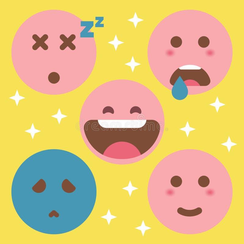 Leuke Vlakke Emoticon-Reeks royalty-vrije illustratie