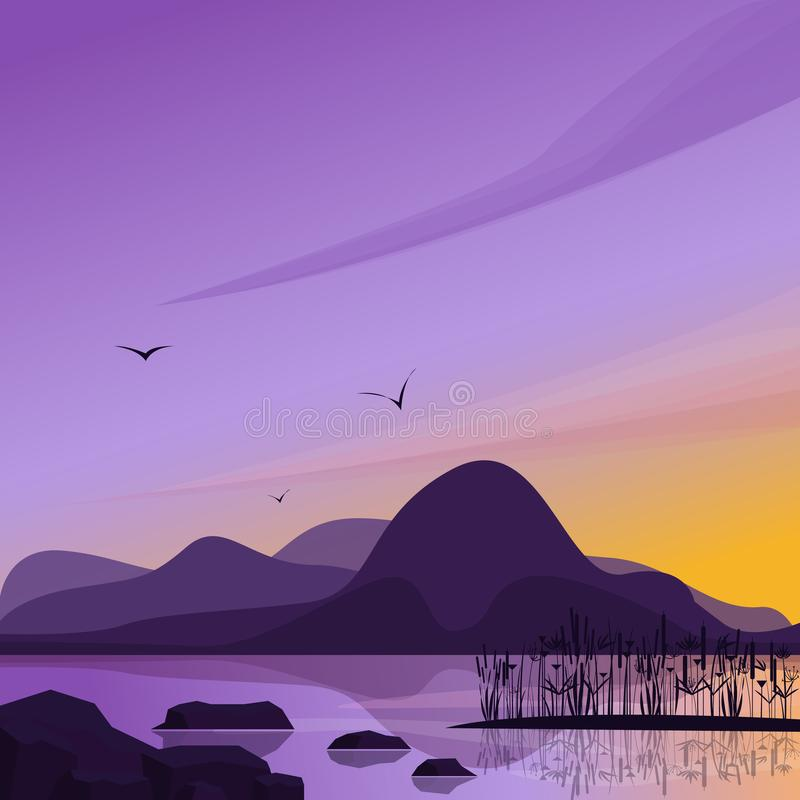 Leuke vlakke landschapsillustratie met berg en meer De eenvoudige vector van de waterstroom vector illustratie