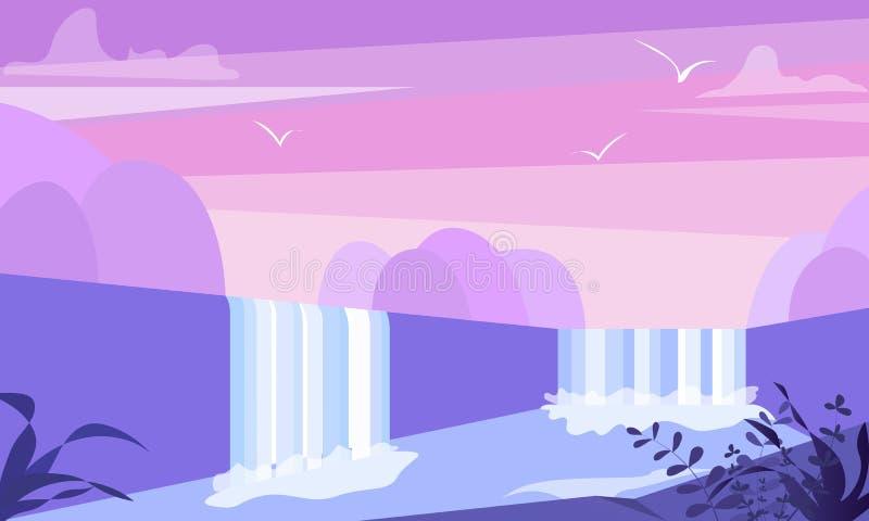 Leuke vlakke landschapsillustratie met berg, waterval en meer De eenvoudige vector van de waterstroom stock illustratie