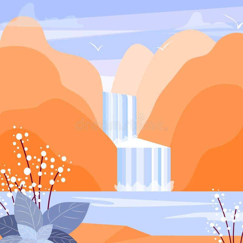 Leuke vlakke landschapsillustratie met berg, waterval en meer De eenvoudige vector van de waterstroom vector illustratie
