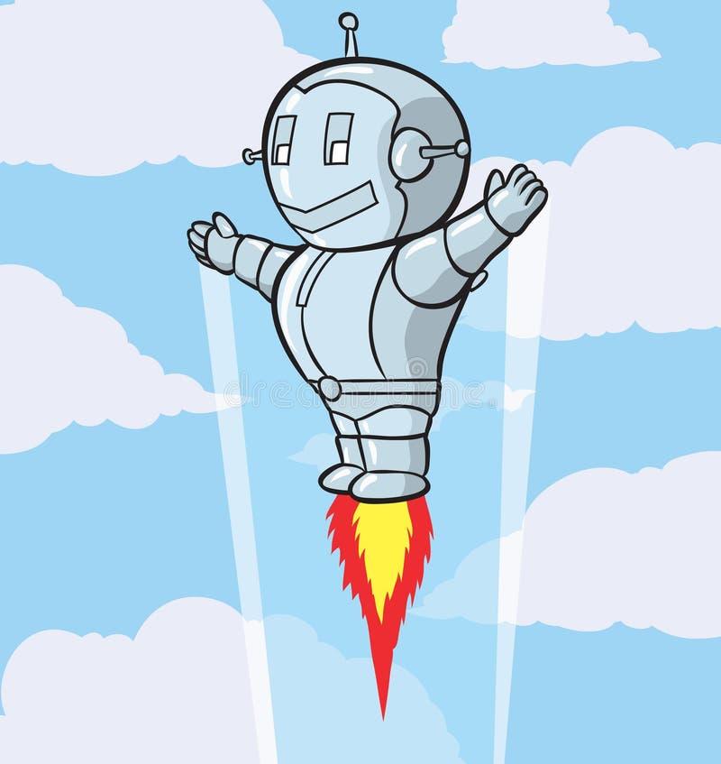 Leuke vliegende robot stock illustratie