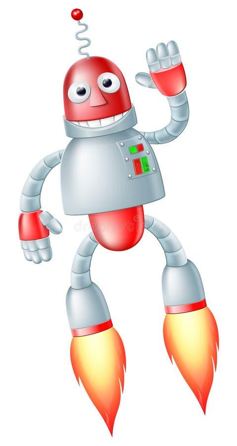 Leuke vliegende robotmens royalty-vrije illustratie