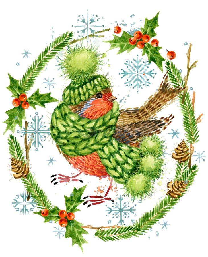 Leuke Vogel Kerstman Klaus, hemel, vorst, zak bosdier De bosillustratie van de waterverfwinter vector illustratie