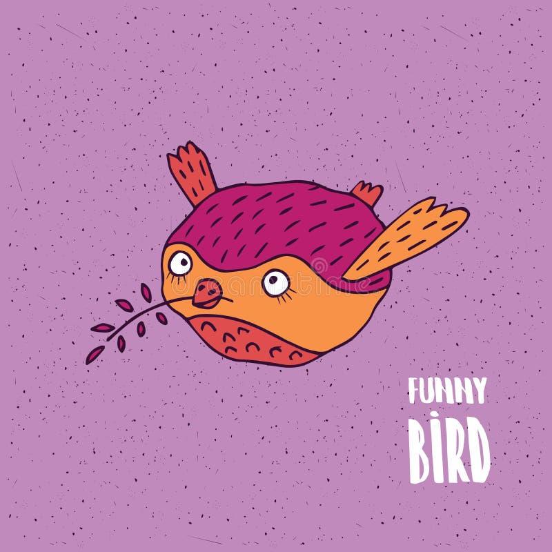 Leuke vogel tijdens de vlucht in met de hand gemaakte beeldverhaalstijl royalty-vrije illustratie
