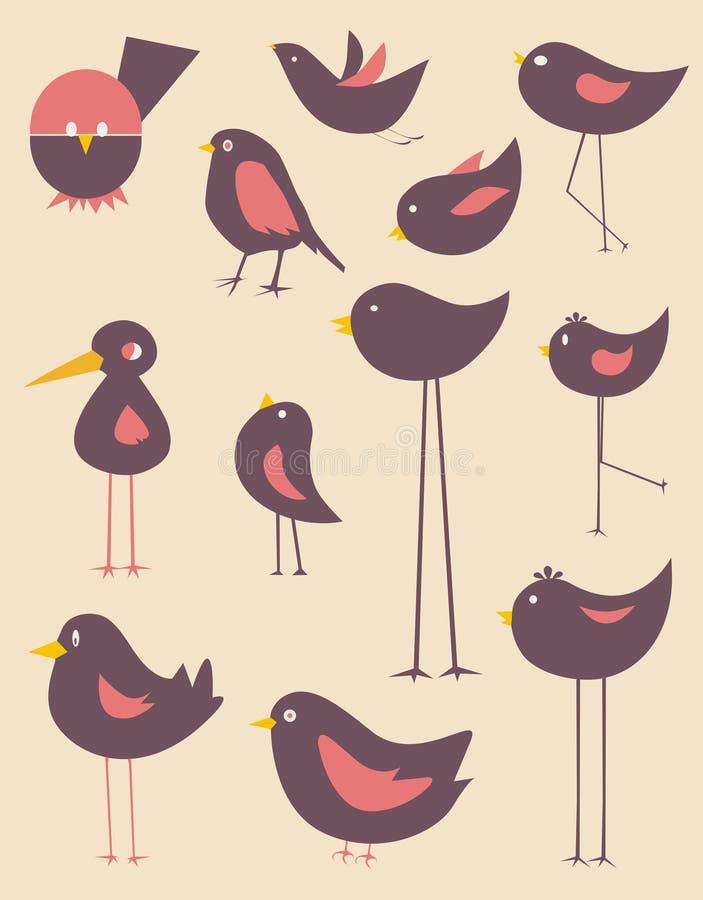 Leuke vogelsvector royalty-vrije illustratie