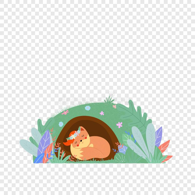 Leuke vos in geïsoleerde kroonslaap in foxy hol stock illustratie