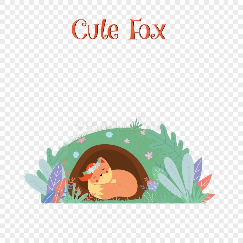 Leuke vos in geïsoleerde kroonslaap in foxy hol royalty-vrije illustratie