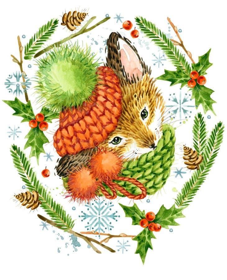 Leuke vos Kerstman Klaus, hemel, vorst, zak bosdier De bosillustratie van de waterverfwinter Het kader van de Kerstmiskroon de va vector illustratie