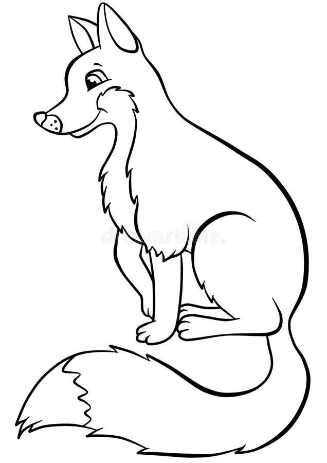 Leuke vriendelijke sluwe voszitting in het bos stock illustratie