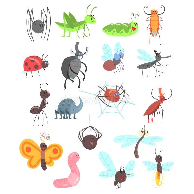 Leuke Vriendschappelijke die Insecten met Beeldverhaalinsecten, Kevers, Vliegen, Spinnen en Andere Kleine Dieren worden geplaatst royalty-vrije illustratie