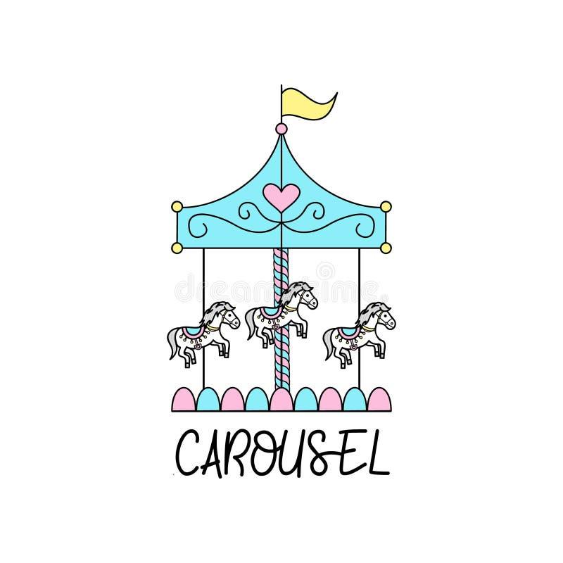 Leuke vrolijk gaat rond, carrousel vectorillustratie stock illustratie
