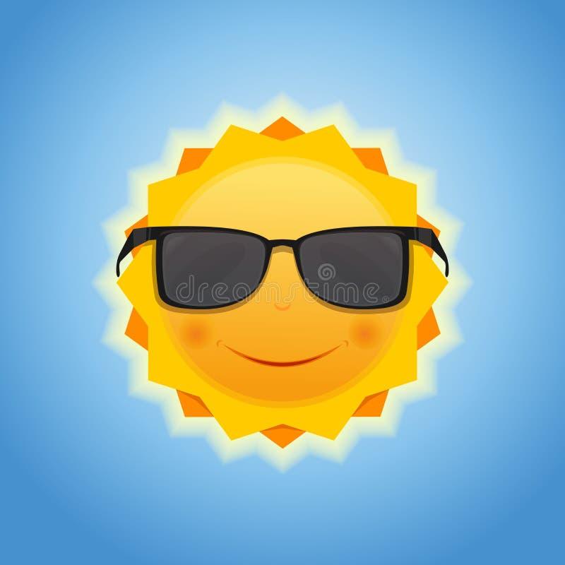 Leuke vrolijke het glimlachen zon op blauwe hemelachtergrond stock illustratie