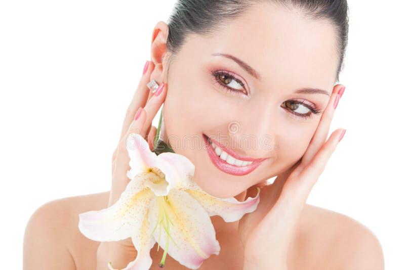 Leuke vrouw met bloem stock afbeeldingen