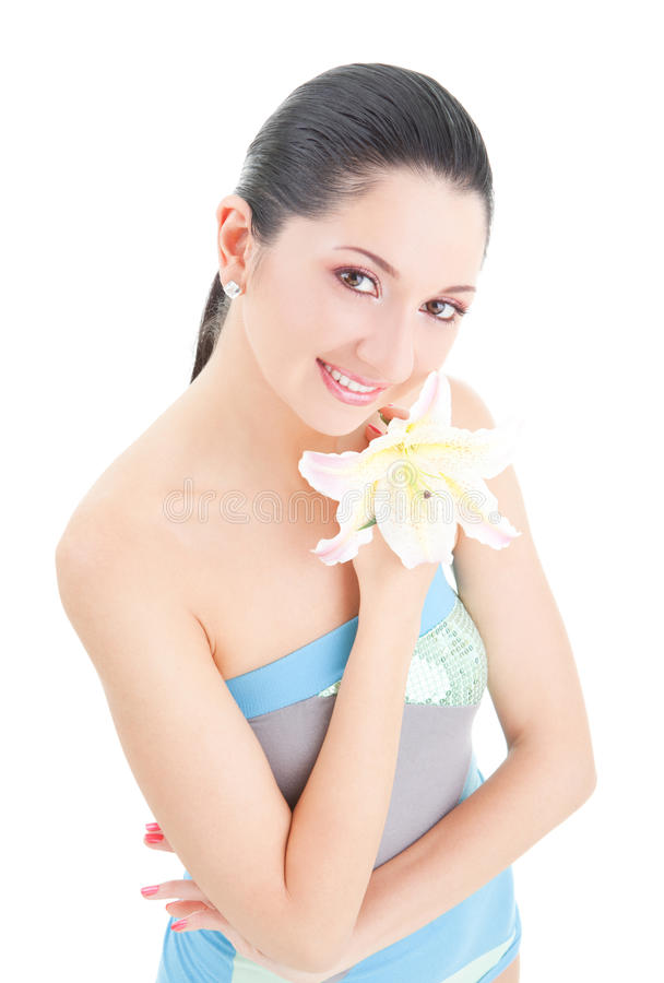 Leuke vrouw met bloem royalty-vrije stock afbeelding