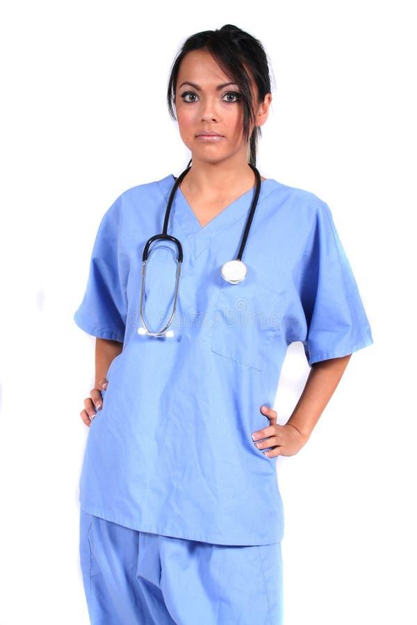 Leuke Vrouwelijke Verpleegster, Arts, Medische Arbeider stock foto's