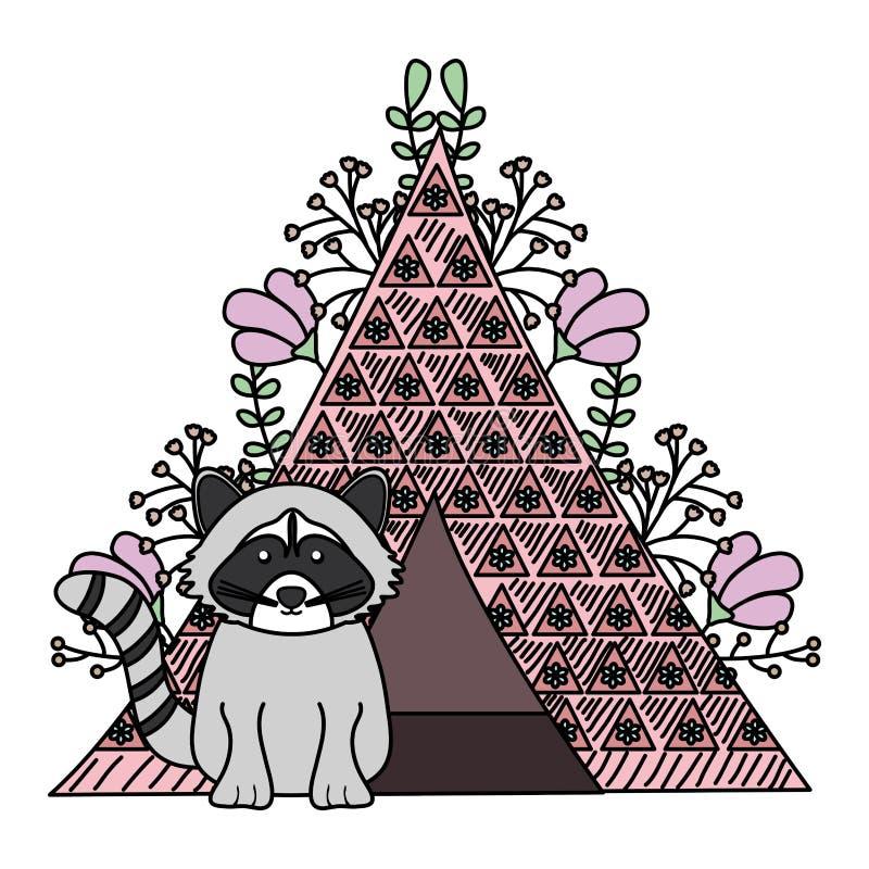 Leuke wasbeer met Indische tent Boheemse stijl stock illustratie