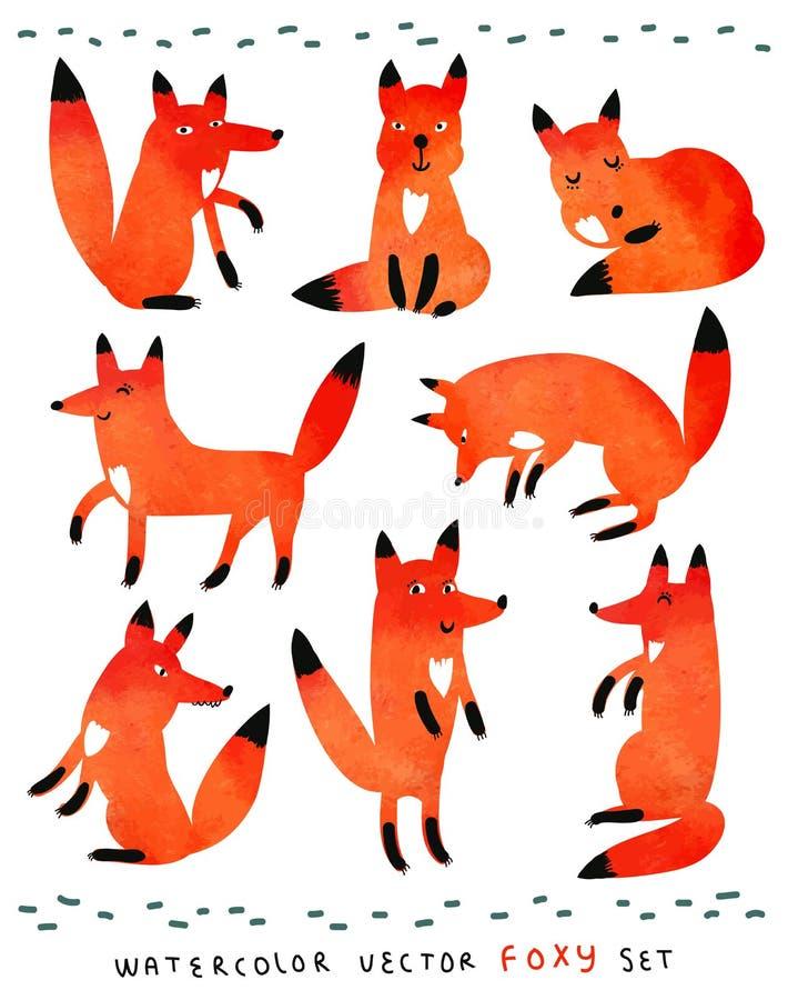 Leuke waterverf foxy reeks royalty-vrije illustratie