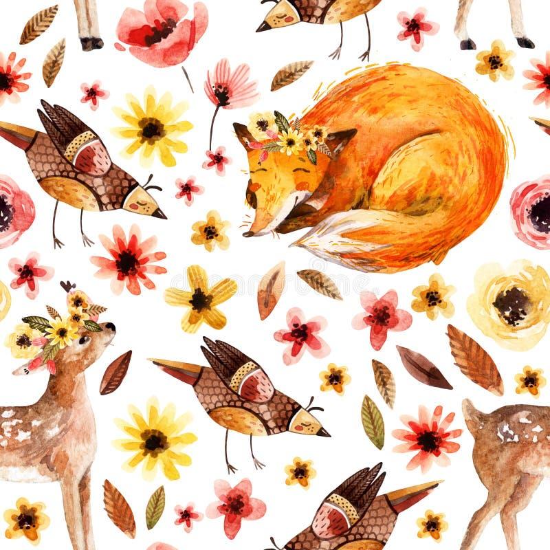 Leuke waterverfdieren op bloemenachtergrond stock illustratie