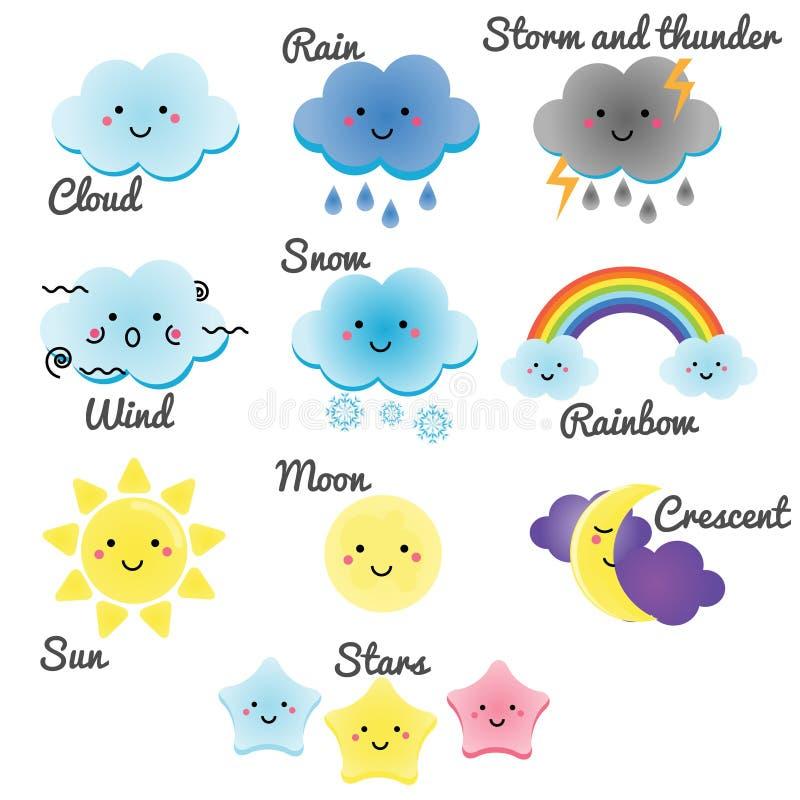 Leuke weer en hemelelementen Kawaiimaan, zon, regen en wolken vectorillustratie voor jonge geitjes, ontwerpelementen voor childr royalty-vrije illustratie