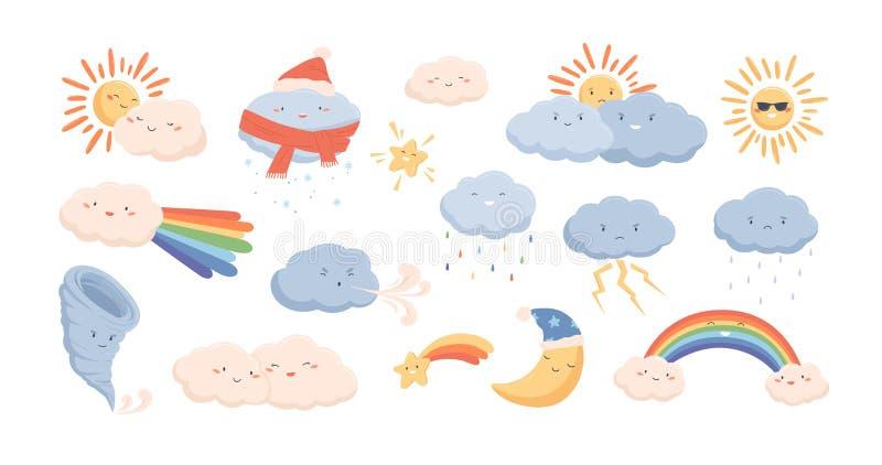 Leuke weerfenomenen - wolken, wind, regenboog, onweersbui, tornado, sneeuw, regen, zon en toenemende maan aanbiddelijk vector illustratie